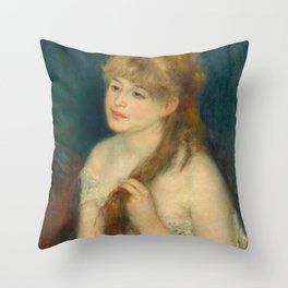 Classic Art - Young Woman Braiding Her Hair - Auguste Renoir Throw Pillow