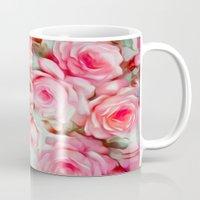 shabby chic Mugs featuring Shabby Chic Pink by Jacqueline Maldonado