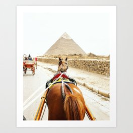 Horse ride to the pyramids Art Print