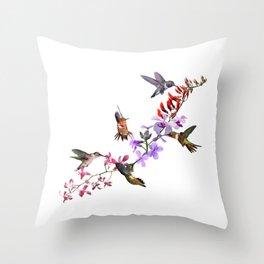 Hummingbirds Feeding Throw Pillow