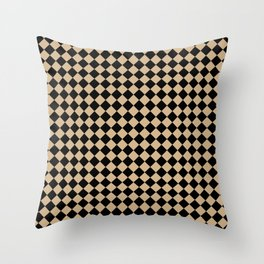 Black and Tan Brown Diamonds Throw Pillow