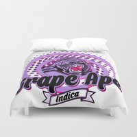 ape Duvet Covers featuring Grape Ape by Cannalusions Clothing Co.