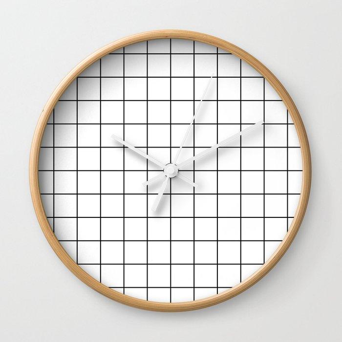 Grid Stripe Lines Black and White Minimalist Geometric Wall Clock