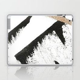 Sassy: a minimal abstract mixed-media piece in black, white, and gold by Alyssa Hamilton Art Laptop & iPad Skin