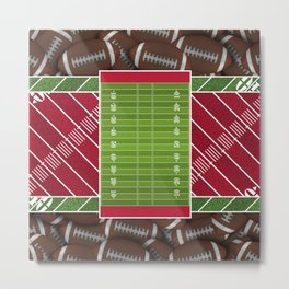 Red Football Field with Footballs Metal Print