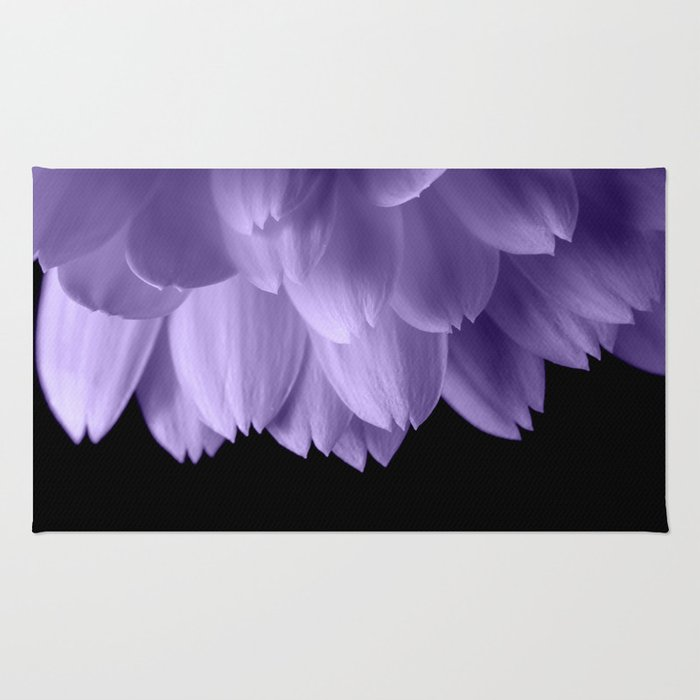 Ultra violet purple flower petals black Rug