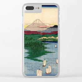 Hiroshige - 36 Views of Mount Fuji (1858) - 15: Noge and Yokohama in Musashi Province Clear iPhone Case