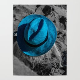 Blue Hat Black and White Street Photography in Cannes Poster
