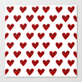 Heart love valentines day gifts hearts with faces cute valentine Canvas Print