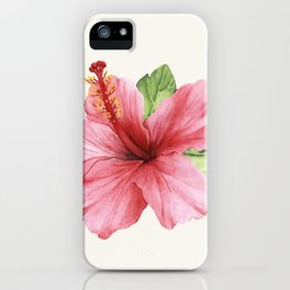 Tropical Pink Hibiscus Flower iPhone Case