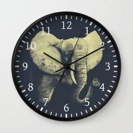 Elephant Drawing (Blue & Yellow) Wall Clock