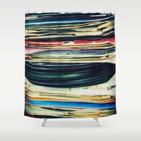 laptop Shower Curtains featuring put your records on by Bianca Green