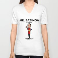 bazinga V-neck T-shirts featuring Mr Bazinga by NicoWriter