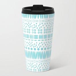 Kenya Stripe - Turquoise on White Travel Mug