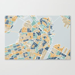 Navy and gold Boston map Canvas Print