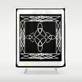 Celtic Deco Black and White Shower Curtain