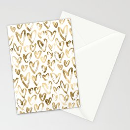 Gold Love Hearts Pattern on White Stationery Cards
