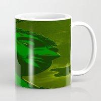 buddah Mugs featuring Buddah Head 02; Green  by Kether Carolus