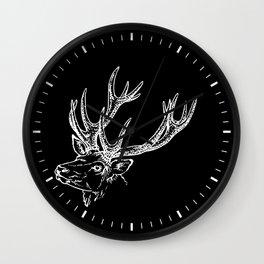 Deer Black White Wall Clock