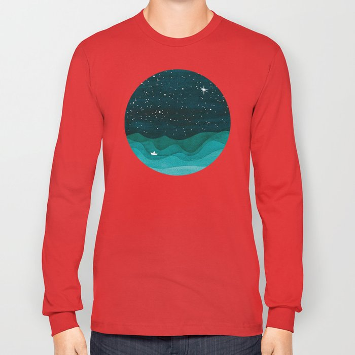 Starry Ocean, teal sailboat watercolor sea waves night Long Sleeve T-shirt