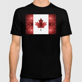 Canada flag red sparkles T-shirt
