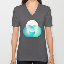 Three colour circles inverted, inspired by Lacouture's Répertoire chromatique Unisex V-Neck
