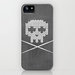 Knitted Skull (White on Grey) iPhone Case
