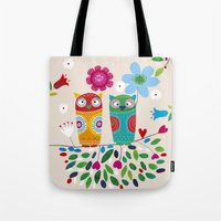 owls Tote Bags featuring owls by Marianna Jagoda
