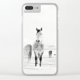 Winter Horse Landscape Clear iPhone Case