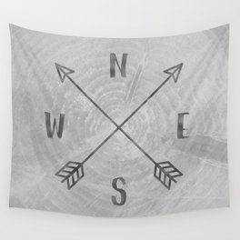 Compass Black and White Tree Wall Tapestry