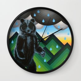 Geometric Black Bear Wall Clock
