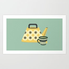 Mid Century Tea Time - Variation #3 Art Print