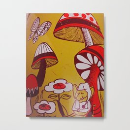 mushrooms and flowers Metal Print