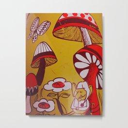 mushrooms and flowers Metal Print