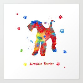 Airedale Terrier Watercolor Colorful Abstract Art Print