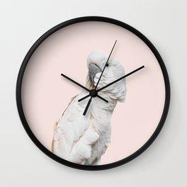 Cockatoo Parrot Photography | Blush Pink | Peach | Happy | Tropical | peek-a-booFun | Paradise Wall Clock