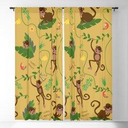 jumping cheeky monkeys yellow 03 Blackout Curtain