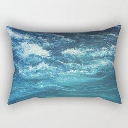 mountain river blue Rectangular Pillow