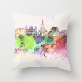 San Jose skyline in watercolor background Throw Pillow
