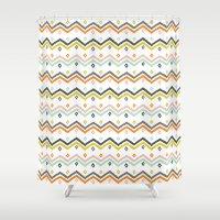 blanket Shower Curtains featuring Blanket Stripe by Jill Byers