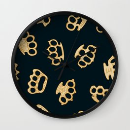 Brass Knuckles With Good Thoughts Wall Clock