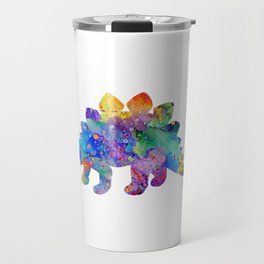 Stegosaurus Dinosaur Art Watercolor Pint Wild Animals Nursery Decor Kids Room Colorful Art Poster Travel Mug
