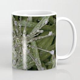 Star-Shaped Ice Crystals on Green Grass Blades Coffee Mug
