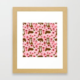 Border Collie red coat cupcakes valentines hearts dog breed pet friendly gifts for collie lovers Framed Art Print