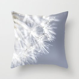 Sparkling dandelion with droplets - Flower water Throw Pillow