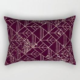 Art Deco Wine Red Gold Geometric Retro Pattern Rectangular Pillow