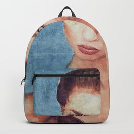 Portrait Of Young Woman With Large Eyes Backpack