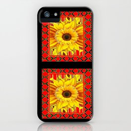 DECORATIVE TEAL-RED & YELLOW SUNFLOWER  BLACK DECO iPhone Case
