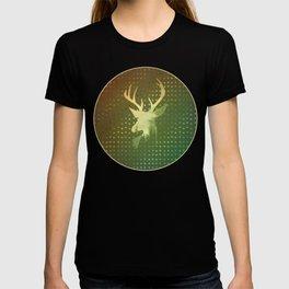 Golden Deer Abstract Footprints Landscape Design T-shirt