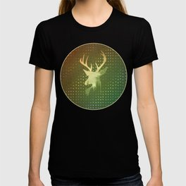 Golden Deer Abstract Footprints Landscape Design T-shirt
